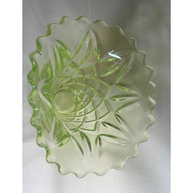 """Vintage 1930s Art Deco Uranium Green Glass """"Manchester Basket"""" Vase - Image 7 of 10"""