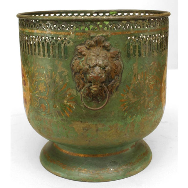 Traditional Pair of French Victorian Green Tole Cachepots For Sale - Image 3 of 4