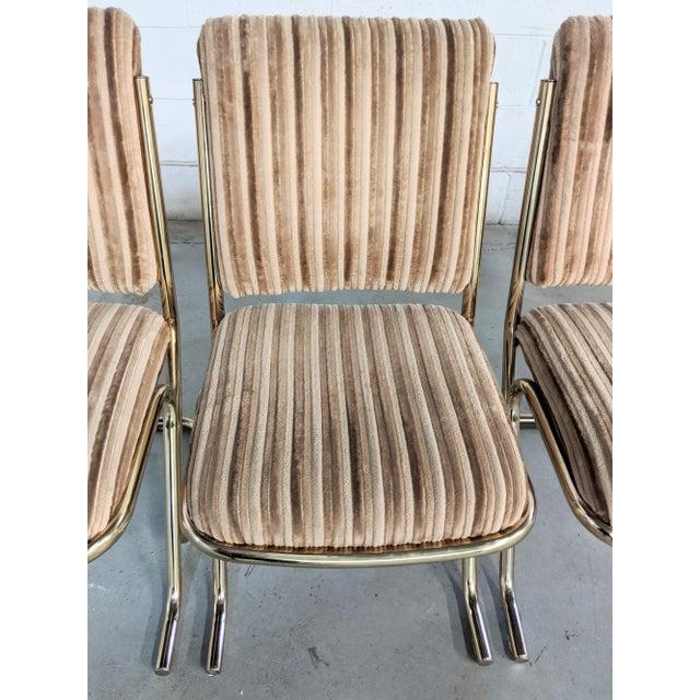 Metal 1970s Chromcraft Velvet & Brass Dining Chairs- Set of 4 For Sale - Image 7 of 12