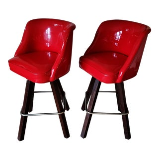 Vintage Modern Heavy Duty Red Vinyl High Back Swivel Bar Stools - Set of 2 For Sale