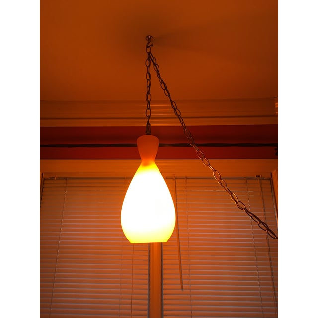 1960s Mid-Century Modern Orange Glass Hanging Lamp For Sale - Image 5 of 10