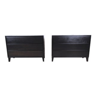 Russel Wright for Conant Ball American Modern Ebonized Three-Drawer Bachelor Chests or Large Nightstands, Pair For Sale