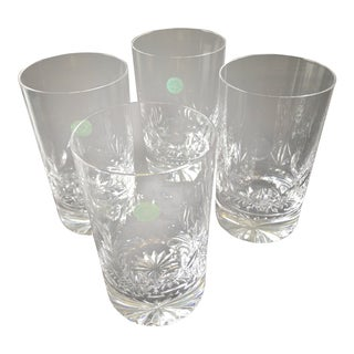 Tiffany & Co Set of 4 - 12oz Full Lead Crystal Highball Glass Tumbler, Signed