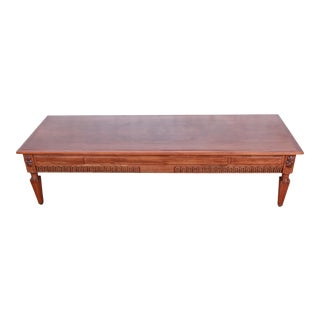 Baker Furniture French Regency Louis XVI Style Large Burled Walnut Coffee Table, Newly Restored For Sale