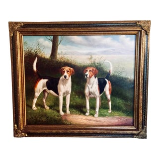 """Vintage Mid-Century """"Hunting Dogs"""" Framed Oil Painting Signed For Sale"""