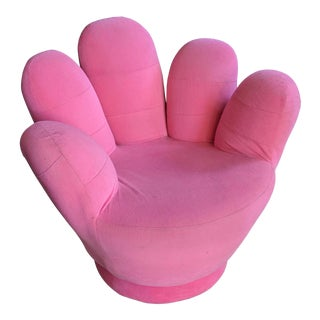 Boho Chic Pink Hand Shaped Swivel Lounge Chair For Sale