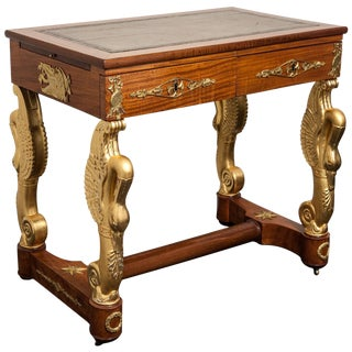 19th Century French Empire Mahogany and Giltwood Dressing Table-Writing Desk For Sale