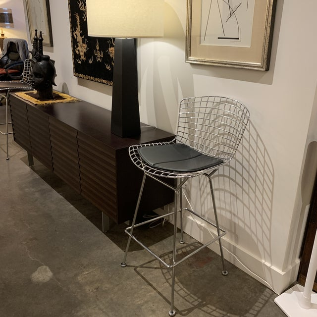 Early 21st Century Chrome Bertoia Barstools by Knoll With Black Leather Seat Cushions - a Pair For Sale - Image 5 of 6