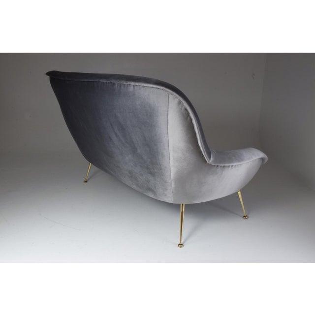 Italian Midcentury Velvet Sofa Set by ISA Bergamo, 1950s For Sale - Image 9 of 13