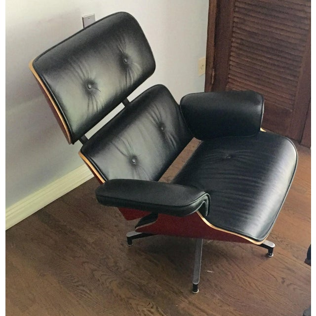 Mid-Century Eames Style Black Leather Chair - Image 2 of 4