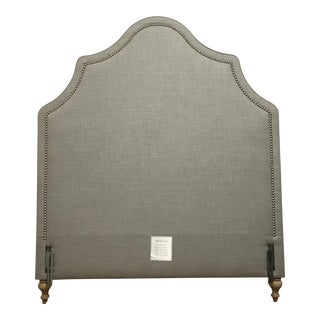 Serena and Lily Pondicherry Headboard With Nailheads Full Silver Washed Linen