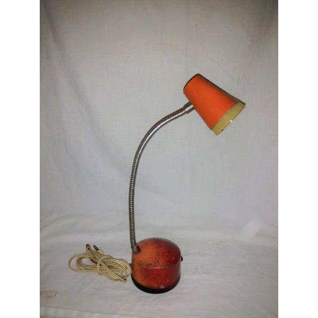 Industrial Mini Orange Work Lamp For Sale - Image 9 of 9