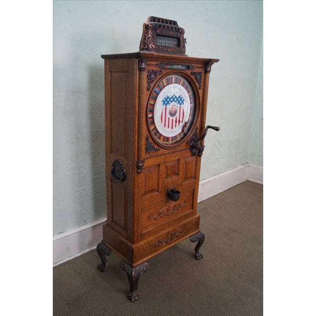 The Dewey Antique Oak Upright 5 Cent Nickle Slot Machine AGE/COUNTRY OF ORIGIN: Approx 100 years, America...