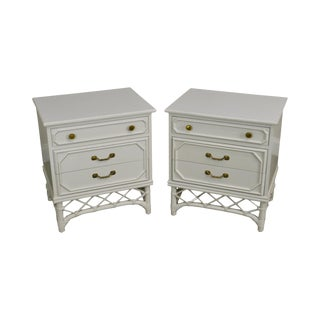 Ficks Reed Vintage White Painted Pair Rattan Chests Nightstands For Sale