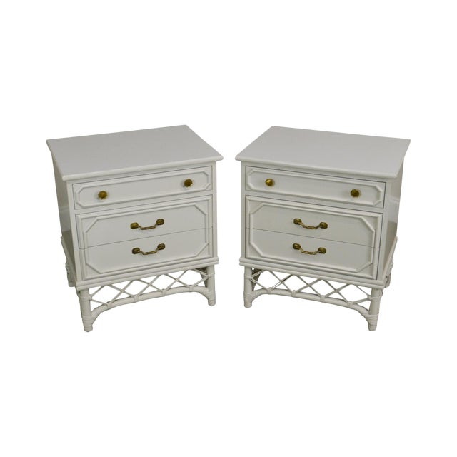 Ficks Reed Vintage White Painted Pair Rattan Chests Nightstands