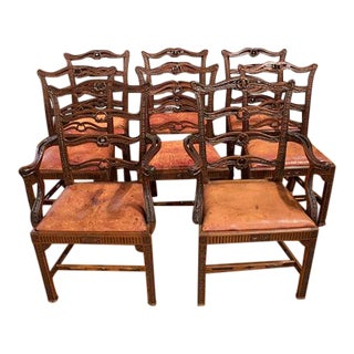 Set of 8 Scottish Mahogany & Leather Dining Chairs For Sale