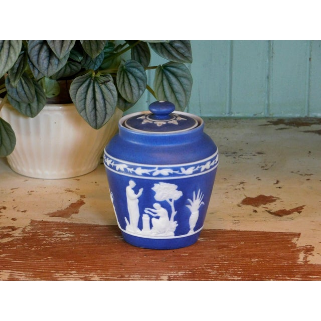 """This sweet little jar is great for storing sugar or cotton swabs inside. 4 1/4"""" wide X 2 3/4"""" top diameter X 2 1/2"""" bottom..."""