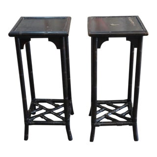 Vintage Brown Chippendale Pedestals / Plant Stands - a Pair For Sale