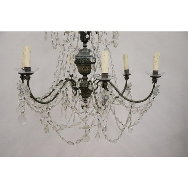 Beautiful and refined Italian rare antique Louis XVI, circa 1780s chandelier six lights. In Copper silvered finely...