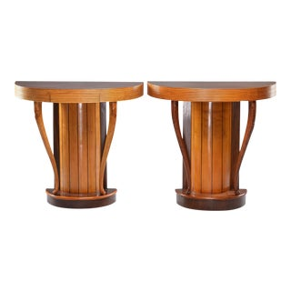 Italian Art Deco Demi Lune Console With Reeded Edge For Sale