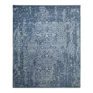 Talia, Transitional Transitional Hand-Knotted Area Rug, Denim, 5 X 8 For Sale
