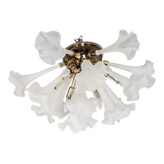 Handblown Flush Mount Murano Chandelier in Brass with Frosted Glass Flowers For Sale