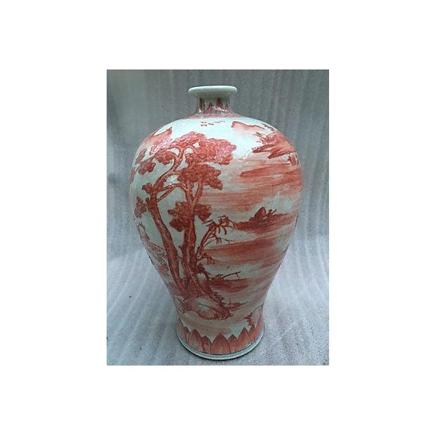 Chinese Hand Painted Coral Village Scene Vase - Image 2 of 6