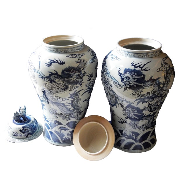 Mansion Size H. Painted Dragon Ginger Jars - a Pair - Image 2 of 9
