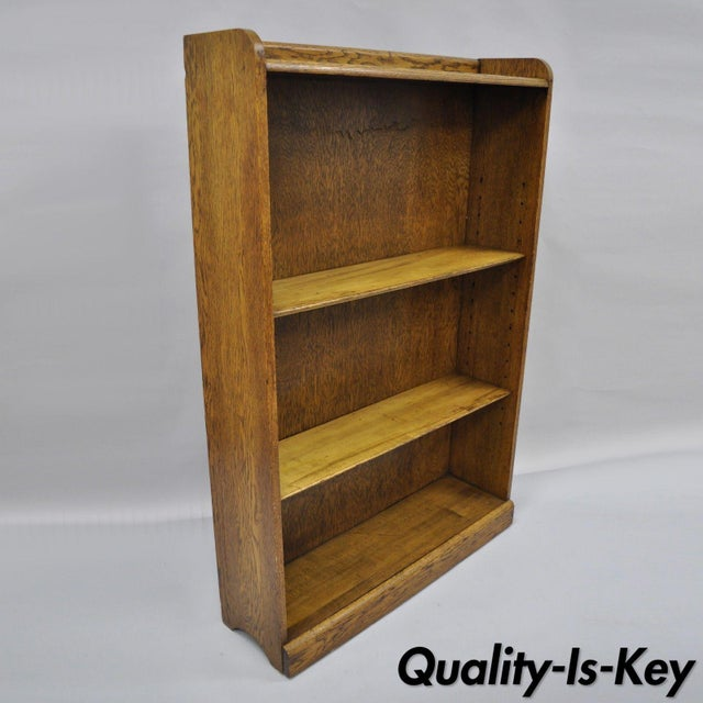 Mid Century Mission/Arts and Crafts Style Oak Two-Shelf Bookcase For Sale - Image 13 of 13