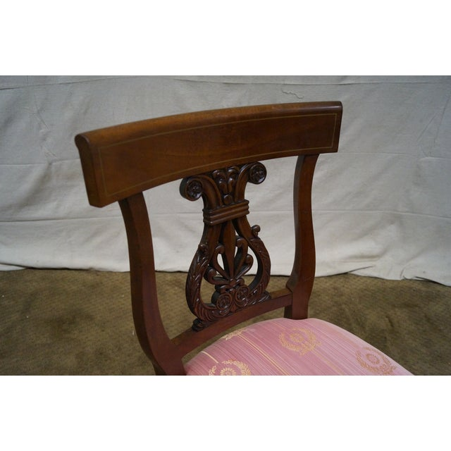 Kindel Neoclassical Mahogany Lyre Back Chairs - 4 - Image 6 of 9