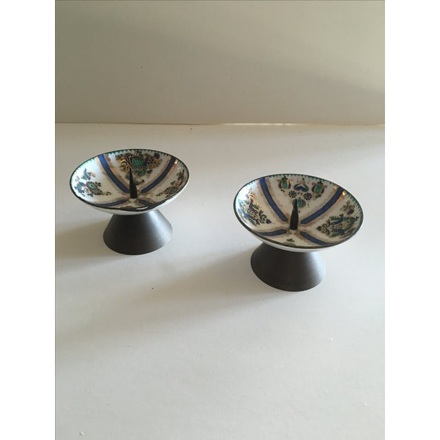 1960's Enamel Taper Candle Holders - A Pair - Image 3 of 4