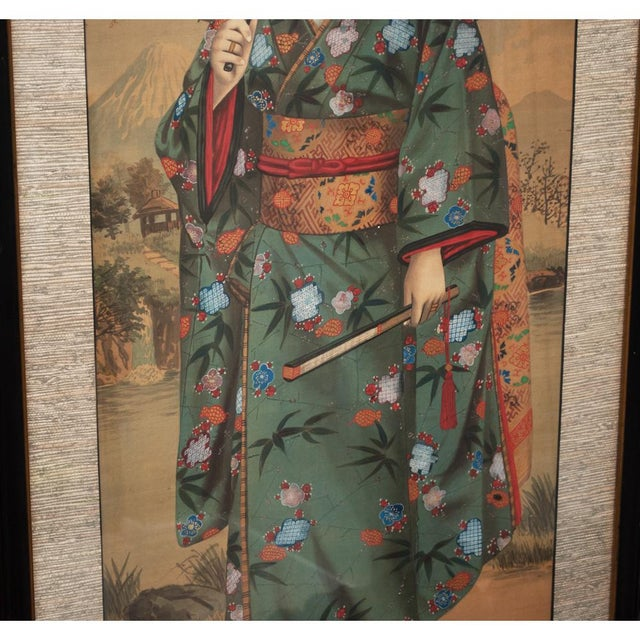 1850s Antique Japanese Silk Portrait of a Noble Lady Panel Painting For Sale - Image 4 of 11