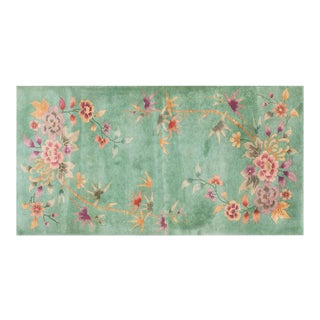 "Chinese Art Deco Light Green Rug - 3'x5'6"" For Sale"