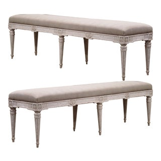 19th Century French Louis XVI Carved Painted Upholstered Benches- a Pair For Sale
