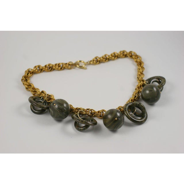 Mid-Century Modern Chunky Goldtone Necklace With Large Dangles For Sale - Image 3 of 9