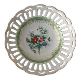 Vintage Japanese Gold Laced Porcelain Dish For Sale