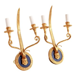 Vintage Brass & Blue Enamel Egyptian Revival Electric Wall Sconces - a Pair For Sale
