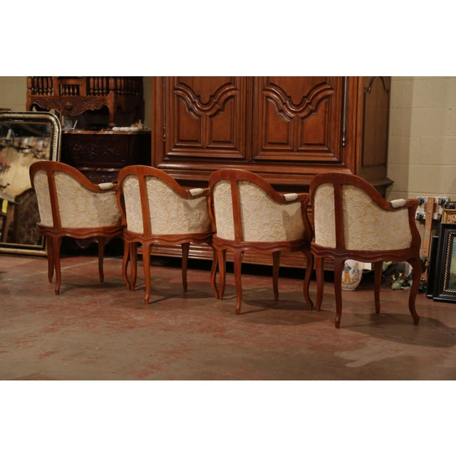Set of Four Early 20th Century French Louis XV Carved Walnut Desk Armchairs For Sale - Image 10 of 12