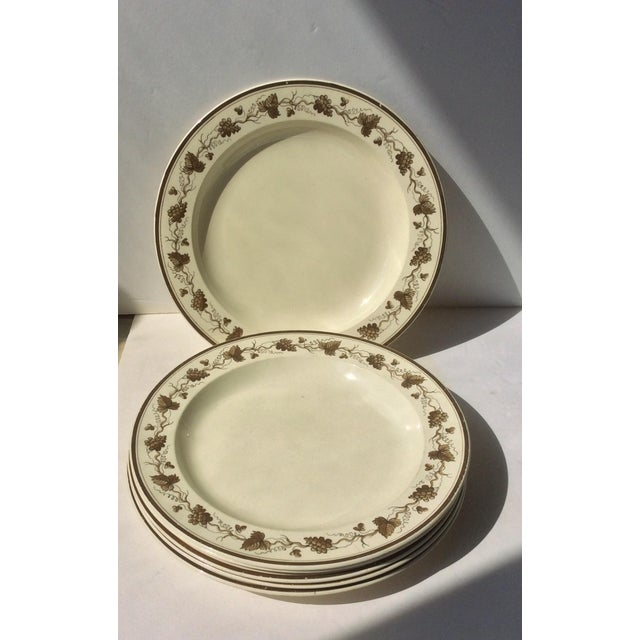 Creamware Plates With Grape Leaf Design - Set of 6 | Chairish