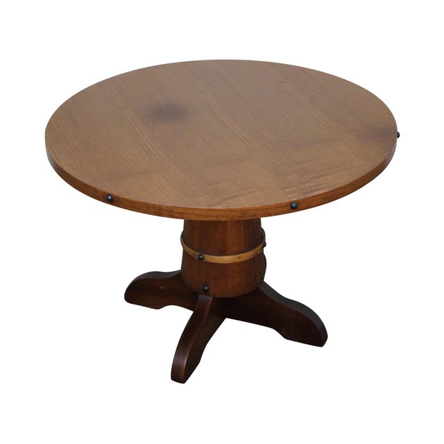 Vintage Oak Round Barrel Base Coffee Table For Sale