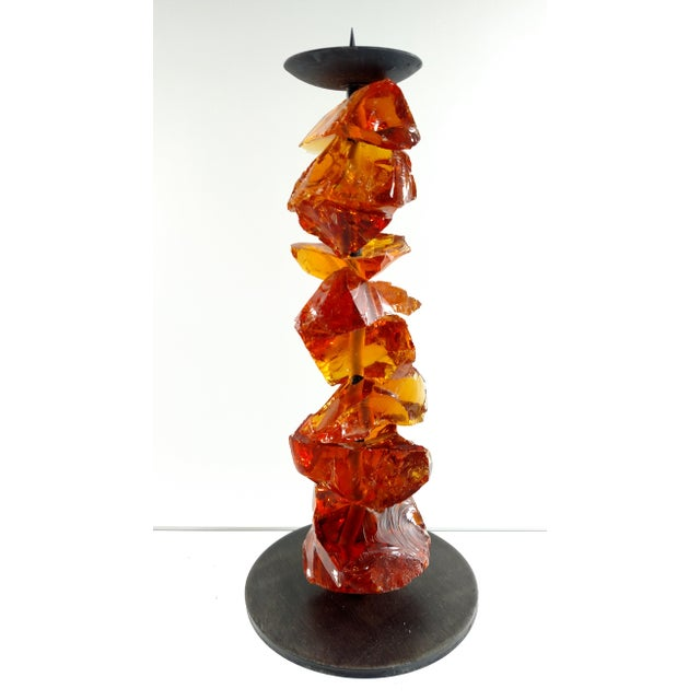 Murano Amber Glass Candlestick - Image 3 of 7
