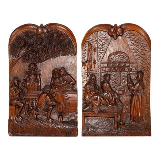 Antique Black Forest Carved Oak Genre Scene Wall Plaques - a Pair For Sale