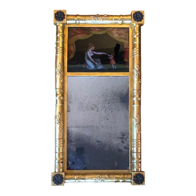 19th Century American Gilt Eglomise Original Wall Mirror For Sale