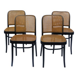1940s Art Deco Joseph Hoffman for Thonet Bentwood and Cane Prague Side Chairs - Set of 4