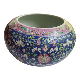 Large Chinese Blue and Pink Pot For Sale