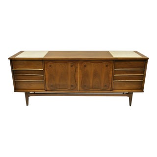 Mid Century Modern Bassett Star Inlay Walnut & Travertine Long Dresser Credenza For Sale