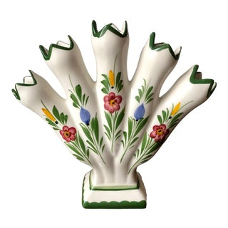 Faience Hand-Painted Tulipiere Vase-Portugal For Sale