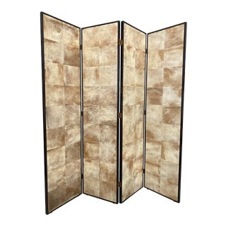 Vintage Jean Michel Frank Style Parchment Room Divider Screen For Sale