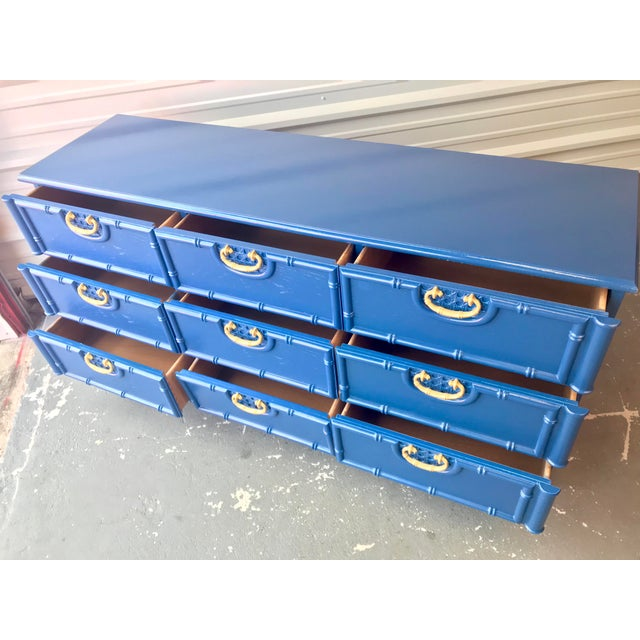 Faux Bamboo Newly Lacquered Blue Dresser For Sale - Image 9 of 12
