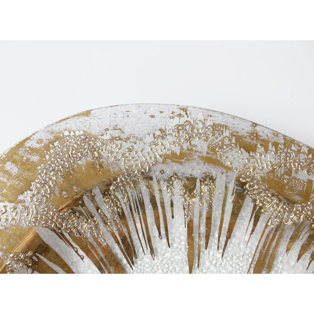 Glass Dorothy Thorpe Glass Serving Tray Platter Gold Mid Century Starburst For Sale - Image 7 of 9